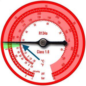 incondensables jauge manometre R134A HP